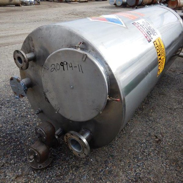 500 Gallon Stainless Steel Vertical Tank, 43″ Diameter X 86″ Straight Side