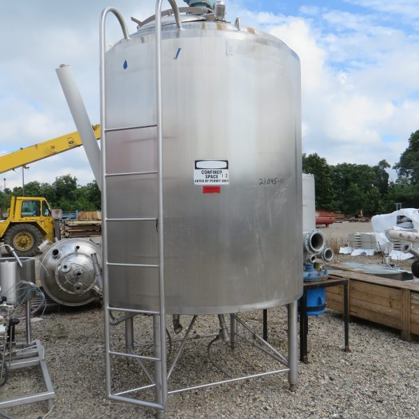 1,000 Gallon Stainless Steel Vertical Jacketed Mix Tank, 64″ Dia X 78″ Straight Side