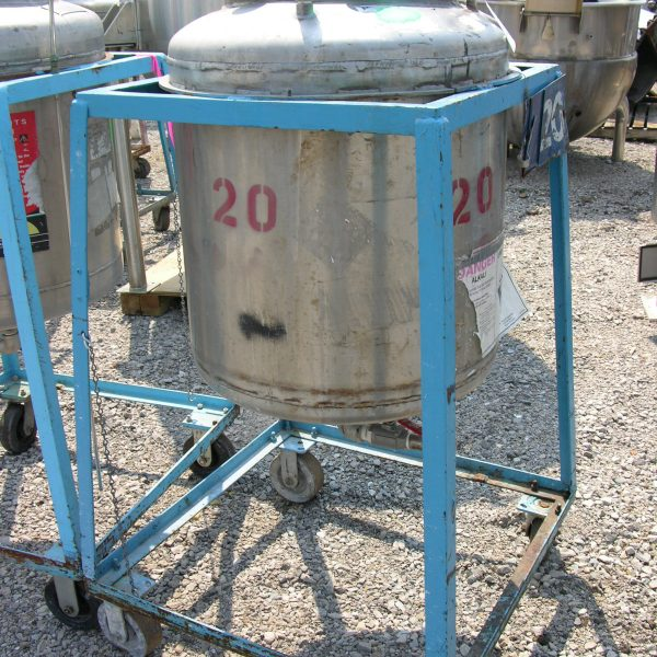 50 Gallon Stainless Steel Vertical Tank, 2′ Dia. X 2′ Straight Side, 50 PSI