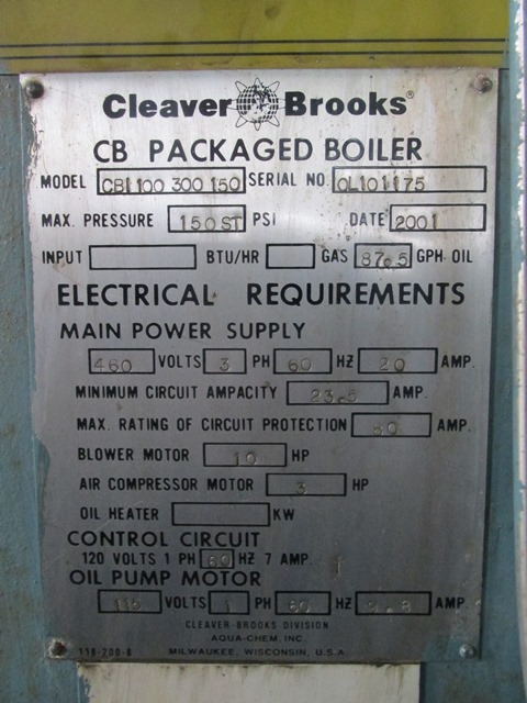 used 300 hp 150 psi cleaver brooks model cb 100 300 150 packaged 300 hp 150 psi cleaver brooks model cb 100 300 150 packaged steam