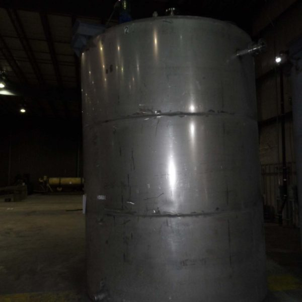 4,500 Gallon Stainless Steel Vertical Tank 8′ Dia. X 12′ Straight Side