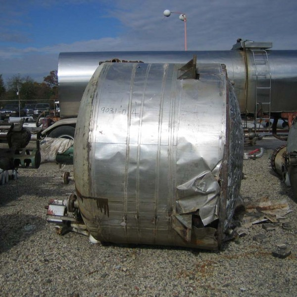 900 Gallon Stainless Steel Jacketed Tank, 6′ Dia. X 4′ Straight Side, 50 PSI