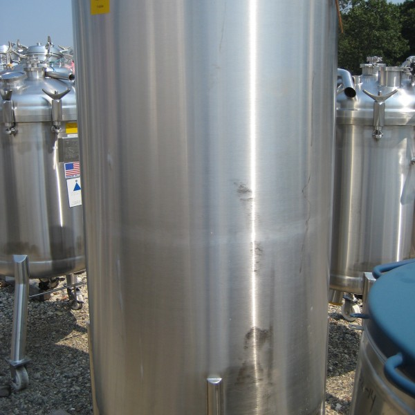 130 Gallon (500 Liter) Precision Stainless Steel Tank, 3′ Dia. X 5′ Straight Side