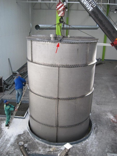 Used 80 cubic meter sugar storage silo made of stainless steel