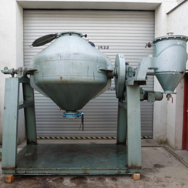 1,200 Litre Klein Stainless Steel Double Cone Jacketed Vacuum Blender Dryer