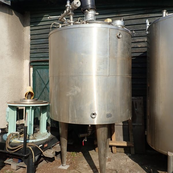 2,500 Litre Stainless Steel Vertical Jacketed Mixing Vessel, 1500mm Dia. x 1500mm Straight Side