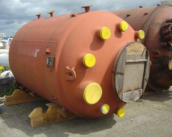 8,000 Litre, 6 Bar/Full Vacuum Internal, 6 Bar/Full Vacuum Jacket, Pfaudler Vertical Glass Lined Reactor Body