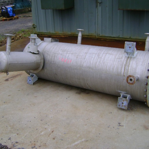 890 Litre Faudi Stainless Steel Horizontal Pressure Vessel, 700mm Dia x 2200mm Straight Side