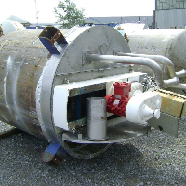2,200 Litre Stainless Steel Vertical Mixing Vessel, 1500mm Dia x 1510mm Straight Side