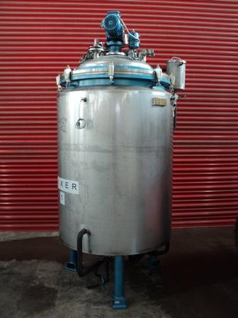 1,000 Litre, <0.3 Bar Internal, 2 Bar Jacket, Stainless Steel Vertical Reactor