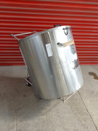 380 Litre Stainless Steel Vertical Storage Vessel, 780mm Dia x 800mm Straight Side