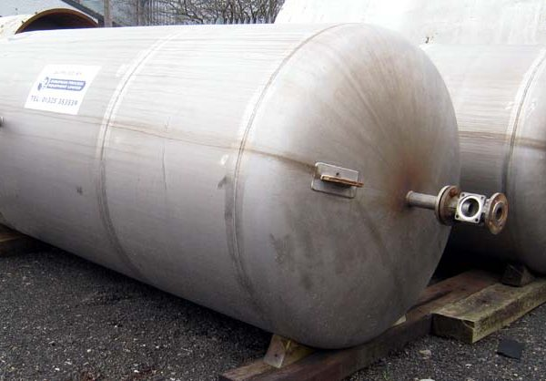 5,900 Litre Stainless Steel Vertical Vessel, 1500mm Dia x 3000mm Straight Side