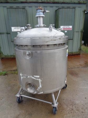 600 Litre 316L Stainless Steel Vertical Jacketed Mixing Vessel