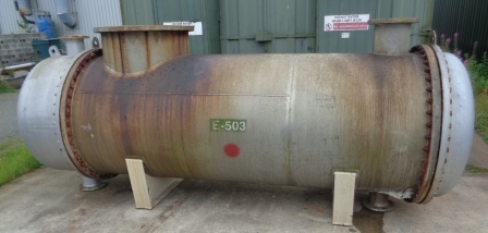 167.8 Sq. M. Stainless Steel Horizontal Shell and Tube Heat Exchanger