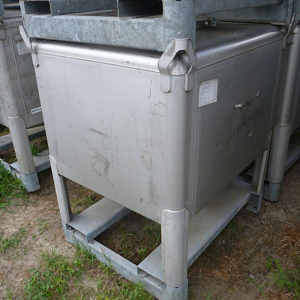 1,030 Litre Gallay Stainless Steel Rectangular Storage IBC Tank