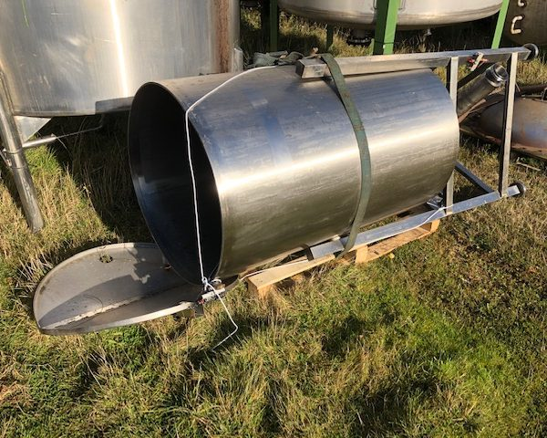 600 Litre Stainless Steel Vertical Tank, 790mm Dia x 1250mm Straight Side