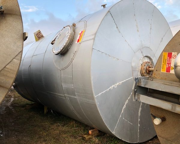 55,000 Litre 304 Stainless Steel Vertical Mixing Tank, 3400mm Dia x 6100mm Straight Side