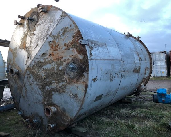 45,000 Litre 304 Stainless Steel Vertical Storage Vessel, 3400mm Dia x 5200mm Straight Side