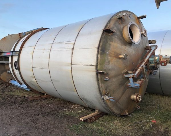 43,000 Litre 304 Stainless Steel Vertical Storage Vessel, 3200mm Dia x 5300mm Straight Side