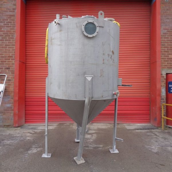 3,500 Litre Desmet Stainless Steel Vertical Storage Vessel, 1600mm Dia x 1500mm Straight Side