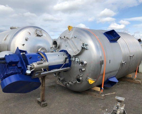 15,000 Litre, 3.6 Bar/Full Vacuum Internal, 6.5 Bar Jacket, Stainless Steel Vertical Reactor
