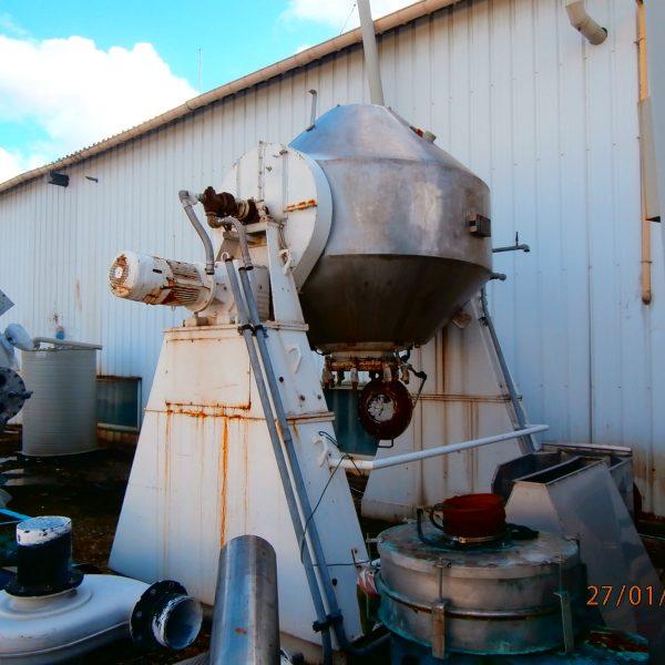 2,550 Litre De Dietrich Glass Lined Double Cone Vacuum Dryer