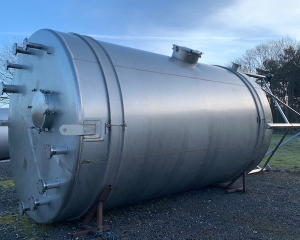 50,000 Litre 316L Stainless Steel Vertical Storage Vessel, 3300mm Dia x 5300mm Straight Side