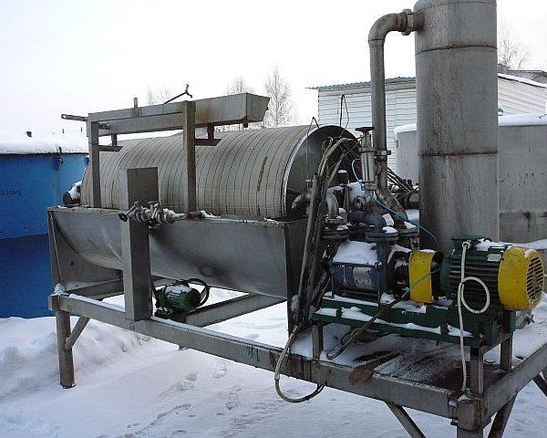 900mm X 2100mm 6.0 Sq. M. Krauss Maffei Stainless Steel Rotating Drum Pre-Coating Vacuum Filter