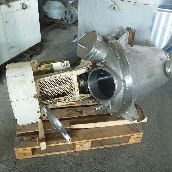 Second hand stainless steel conical mixer by Gunter Papenmeier with volume 150 l