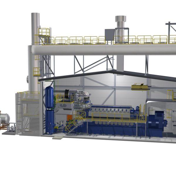 Wärtsilä 20V34SG Natural Gas Generator Sets, Rated at 9400 KW, 13,800 Volts, 60Hz